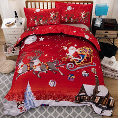 Bedding Set Santa Claus Pillowcase Christmas Decoration Hotel Quilt Cover Soft 3pcs/Set Sleeping Home Decor Duvet Cover