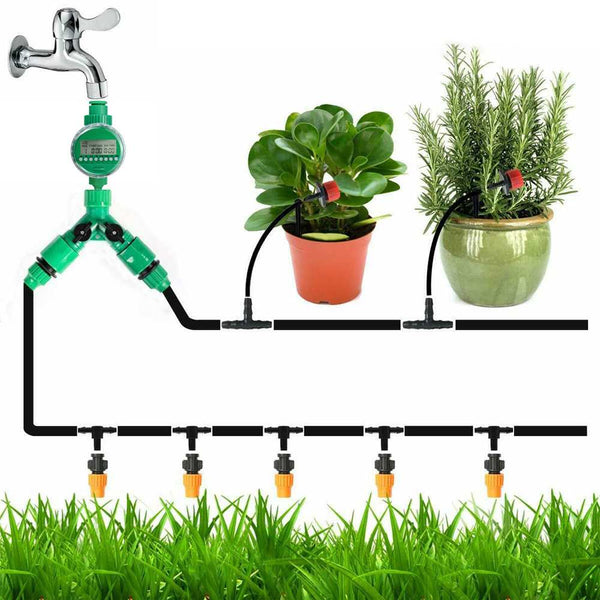 40m Drip Water Irrigation Kit Set Automatic Micro Drip Garden Spray Irrigation System Self Watering Kits with Adjustable Dripper