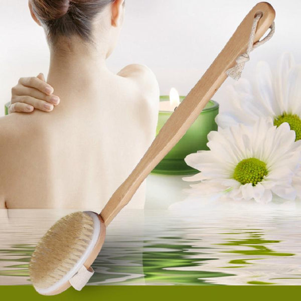 Natural Long Wood Wooden Body Brush Massager Bath Shower Back Spa Scrubber Natural Wood Bath Body Brush Cleaning Tool