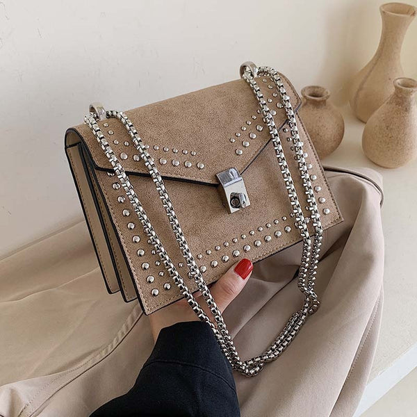 Vintage Scrub Leather Small Shoulder Messenger Bags for Women 2019 Chain Rivet Lock Crossbody Bag Lady Travel Hand Bags Feminina