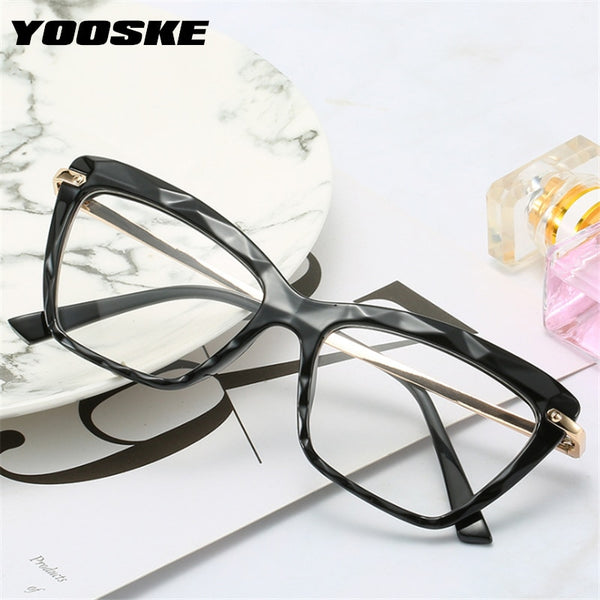 YOOSKE Square Glasses Frames Women Luxury Brand Sexy Cat Eye Optical Frame Female Computer Eyeglasses Clear Myopia Eyewear