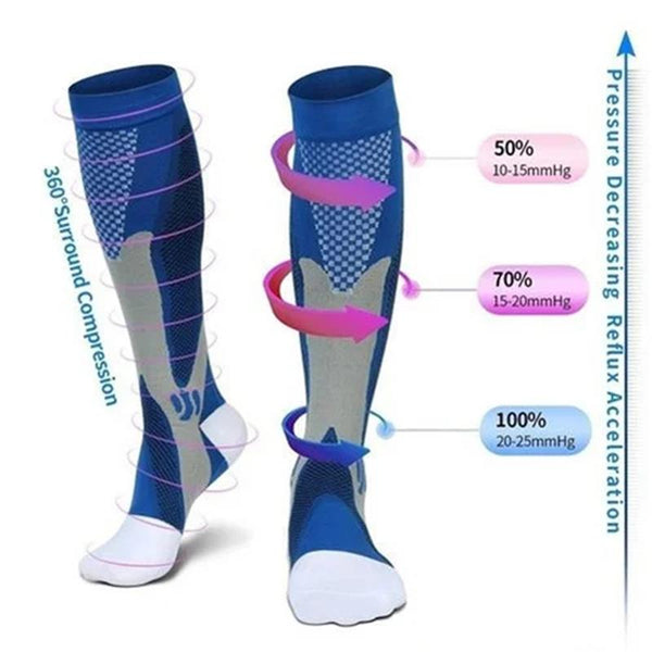 Men Women Compression Socks Fit For Sports Black Compression Socks Anti Fatigue Pain Relief Knee High Stockings 1 Pair