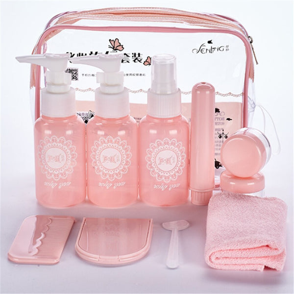 7 10 pc/Set Travel Mini Makeup Cosmetic Face Cream Bottles Plastic Transparent Empty Make Up Container Travel Accessories
