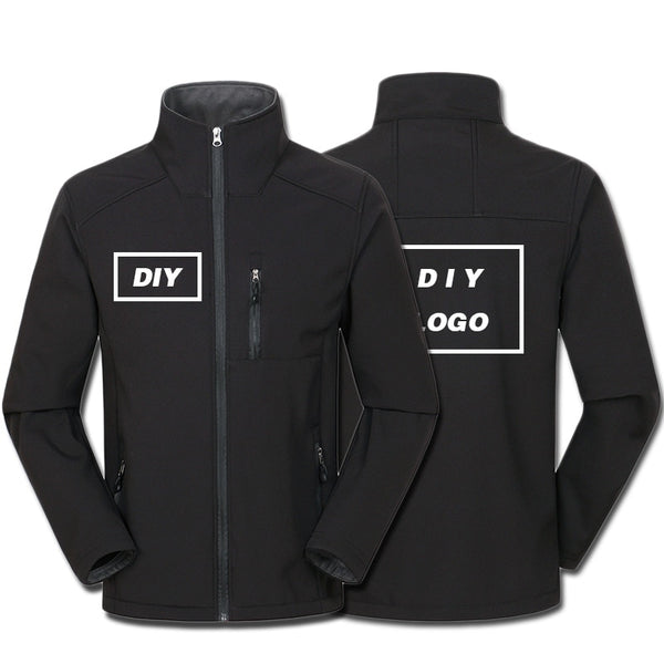 Custom Logo Printed Men's Autumn Warm Jackets Adults Waterproof Windproof Coat Zipper Softshell Degisn Outerwear Drop Shipping