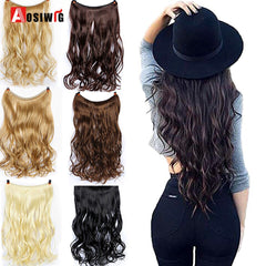 AOSIWIG Women's Fish Line Hair Extension Brown Natural Straight Long High Temperature Fiber Synthetic No Clip in Extension Wig