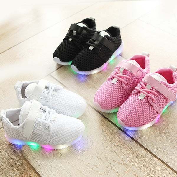 LOOZYKIT 2019 New Fashion LED Kid Sports Shoes Boys Girls Light Up Sneakers Toddler Baby Luminous Casual Trainers Cute