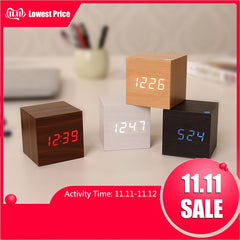 Multicolor Sound Control Wooden Wood Square LED Alarm Clock Desktop Table Digital Thermometer Wood USB/AAA Date Display BTZ1