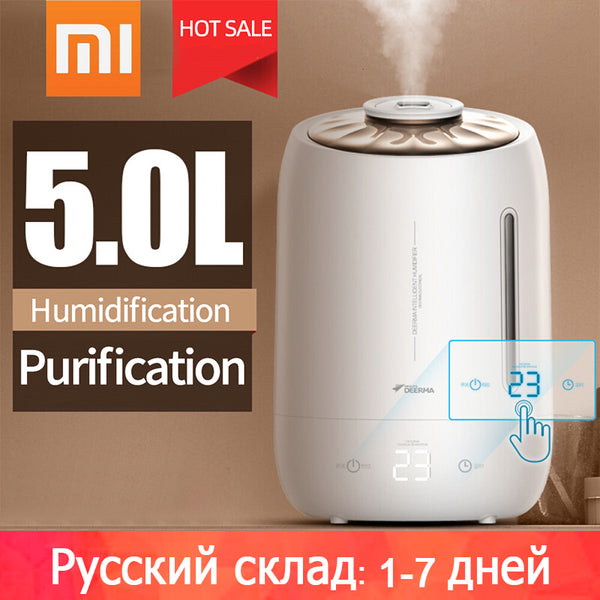 Xiaomi Deerma Household Air Humidifier Air Purifying Mist Maker Timing With Intelligent Touch Screen Adjustable Fog Quantity
