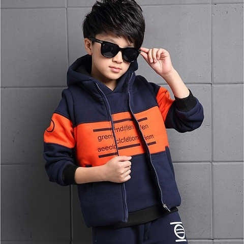 3-12 Years Winter Boy Girl Clothing Set New Casual Fashion Warm Thicken Kid Suit Children Baby Clothing Vest+coat+pant 3pcs