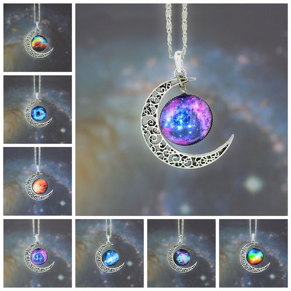 Universe Starry Sky moon Jewelry Stainless Steel Silver Color NecklaceTime Gem Pendant Necklace Women/Men Gift Crystal Necklaces