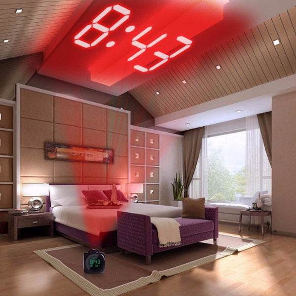 2019LCD Projection LED Display Time Digital Alarm Clock Talking Voice Prompt Thermometer Snooze