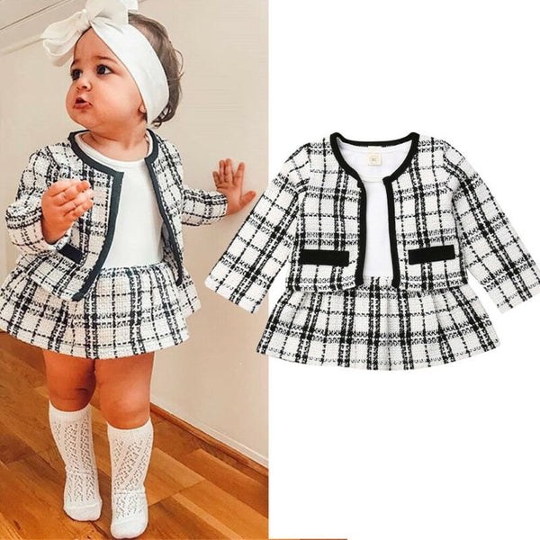 2019 Kids Spring Autumn Clothing 2Pcs Baby Girls Princess Tutu Dress Plaid Coat Outwear Party Dresses Elegant Clothes Set 1-5T