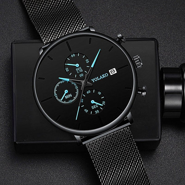 2019 Men's Business Watch Quartz Luxury Simple Blue Pointer Scrub Dial Male Fashion Atmosphere Calendar WristWatch Montre Homme