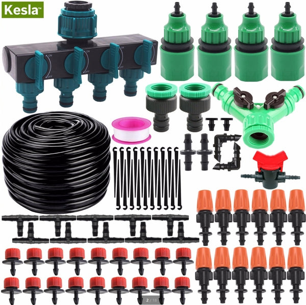 KESLA 35M Micro Drip Irrigation Watering Kit Automatic Garden Plant Greenhouse Irrigation System & Adjustable Dripper Atomizer