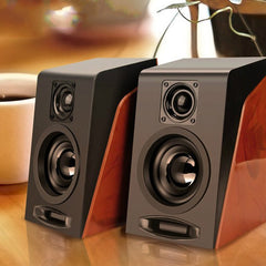 USB Wired Wooden Combination Speakers Computer Speakers Bass Stereo Music Player Subwoofer Sound Box For PC Phones