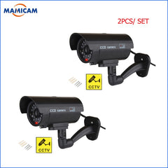 2pcs/lot Fake Camera Outdoor Dummy Bullet Home CCTV Surveillance Security Camera Waterproof With Flashing Red LED Black