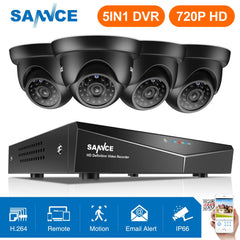 SANNCE 8CH 720P Security Camera System HDMI 5IN1 DVR With 4PCS TVI 720P Outdoor Weatherproof CCTV Home Video Surveillance kits