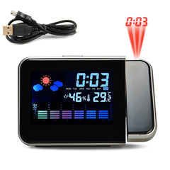 Time Projection Digital Alarm Clock With Weather Station Thermometer Calendar Date Display Changing Snooze LED Digital Clock