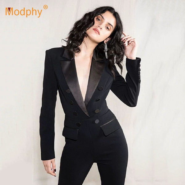 2019 Autumn New Fashion Women'S Jumpsuit Sexy Long-Sleeved Hollow Double-Breasted Slim Jumpsuit Celebrity Party Runway Jumpsuit