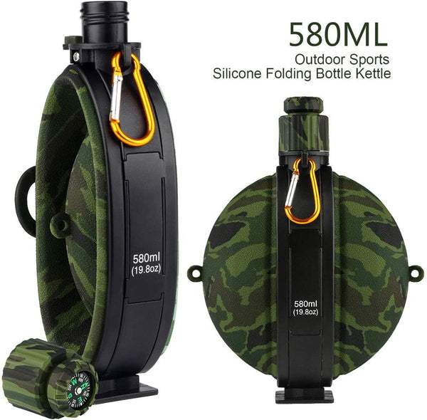 Collapsible Water Bottle Folding Army Tourist Flask FDA Food Grade Silicone Water Kettle Canteen with Compass Hydro Flask Bottle