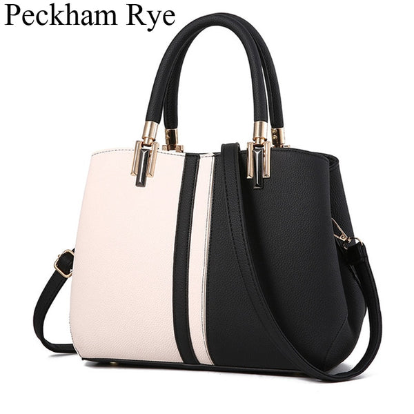 Women Luxury Handbag Designer White Black Panelled High Qulity Leather Hand Shoulder Bags Famous Crossbody Tote Bag Bolsos Mujer