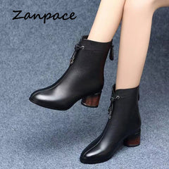 ZANPACE 2019 Leather Women's Boots Winter Black Plus Velvet Thick Warm Women's Shoes Thick Med Heel Ankle Boots Women Size 40