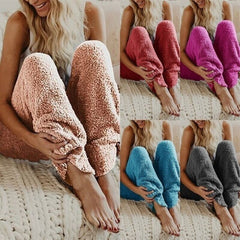 Women Autum Winter Sleepwear Soft Plush Sleep Bottoms Keep Warm Fleece Night Wear Solid Color Long Pants Homewear Women Pajama