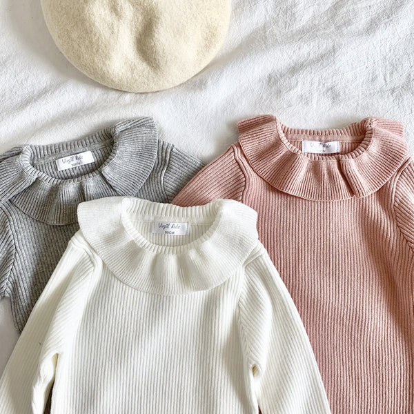 2019 Fashion Baby Girls Sweater Ruffle Collar Princess Girls Knitted Pullover Kids Basic Sweater BC808