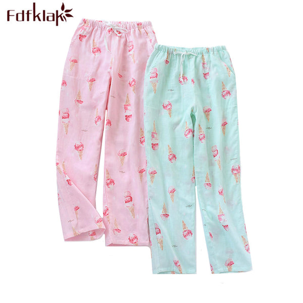 Fdfklak Casual trousers for women pajamas pant loose long sleep pant print women's home pants lounge pijama femme pajama pants