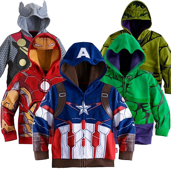 Boys Hooded Sweatshirt Baby Boy Avengers Superhero Iron Man Thor Hulk Captain America Spiderman Coat Kids Cartoon Jacket 2