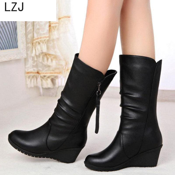 LZJHOT Autumn New Fashion Boots Wedges Round Head Boots Large Size European And American Women's Shoes Winter Fringe Size 42