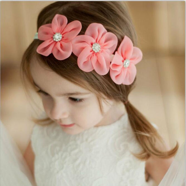 2019 New Ribbon Pearl Diamond Hairband Newborn Hair bands Sewing 3 Flowers Headband Kids Hair Accessories for Girls