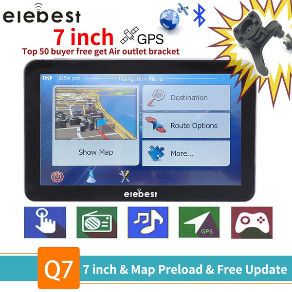 elebest gps navigation 7 inch TouchScreen Gps Navigator Car Vehicle Truck GPS Sat Nav BHT Optional Europe 2019 Maps Free Upgrade