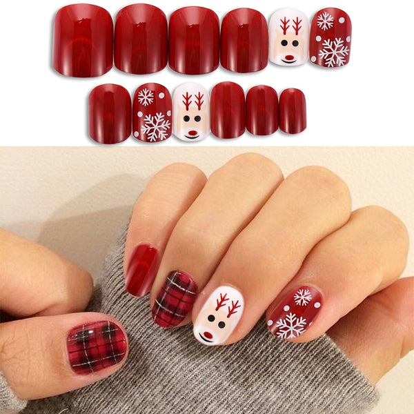 24PcsRound Fake Nails Flat Top Fake Nails Artificial Nails ForLady Christmas False Nails New Design Daily Decoration ForManicure