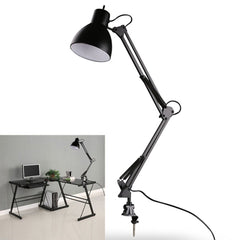 Flexible Swing Arm Clamp Mount Lamp Office Studio Home E27/E26 Table Black Desk Light AC85-265V