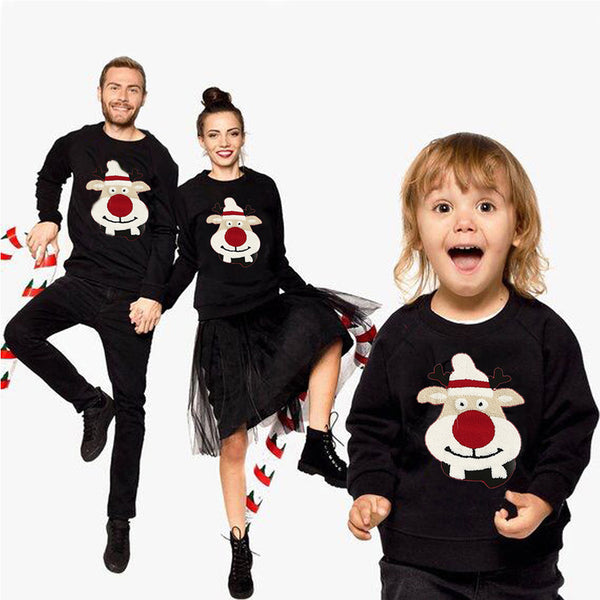 Family Matching Men Mom Kid  Women Baby Kids Christmas Sweater Sweatshirt Pullover Tops Christmas Deer Jumper Blouse Xmas Warm