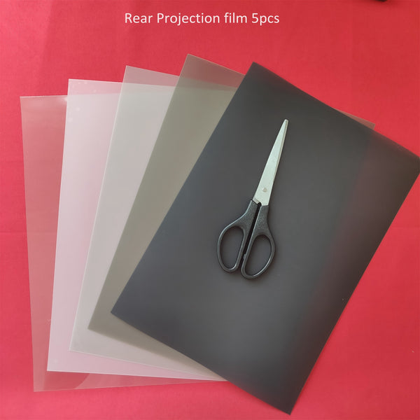 5 Pieces 5 Colors Holographic Projection Film A4 210*290mm samples rear projection film Dark Transparent White grey color