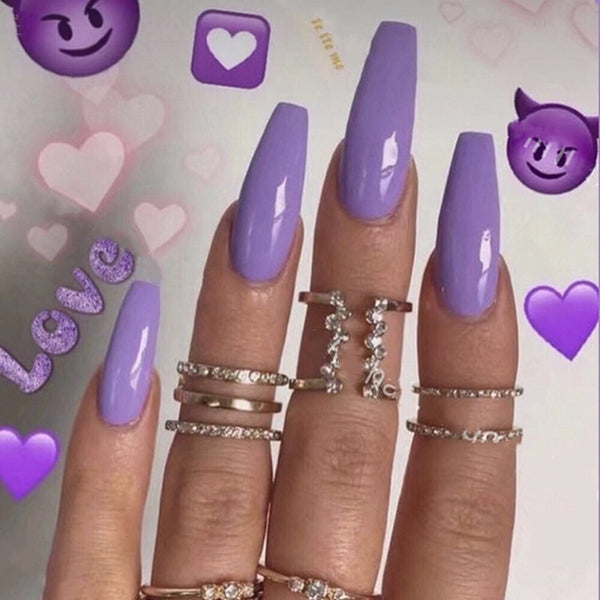 24pcs/Set European Long Ballerina Fake Nails Pre-design Purple Red Full Cover Coffin Shaped False Nails Beauty Nail Art Decal