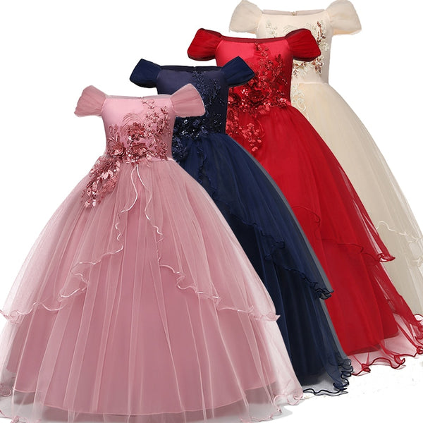 Kid Wedding Dresses for Girls Elegant Flower Princess Long Gown Baby Girl Christmas Dress vestidos infantil Size 6 12 14 Years