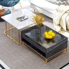 Marble Texture Top Tea Table Small Light Luxury Black White Gold Stell Table Square Rectangle Gorgeous High Level Living Room So