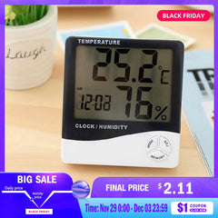 Mini Digital LCD Indoor Temperature Sensor Humidity Meter Thermometer Hygrometer Gauge Electronic Weather Station Clock HTC-1-2