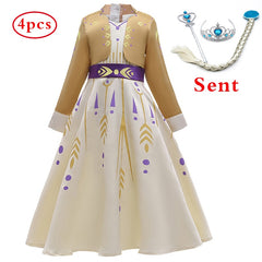1Pcs+Free Crown 3-10T Baby Girls Dresses Baby Girls Party Dress,Cosplay Princess dress Kids Summer Wedding Dress