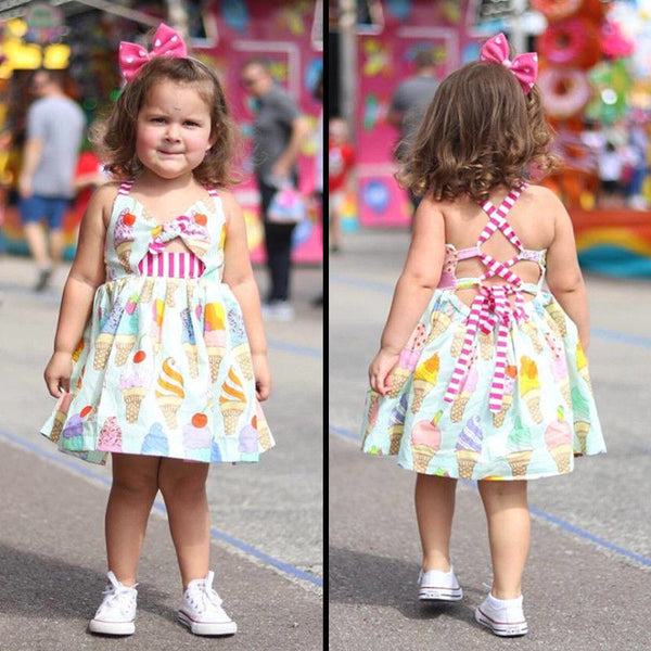Girl Clothes 2019 Casual Ice cream Toddler Kids Baby Girls Strap Sleeveless Bow Backless Dress Sundress Summer Clothes