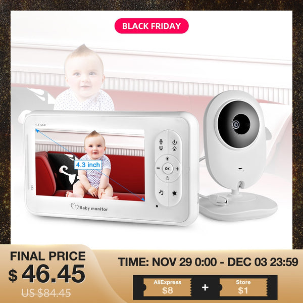 4.3 inch Video Baby Monitor Wireless with Camera Two-way Audio Nanny Baby Camera Babysitter Night Vision Temperature Detection