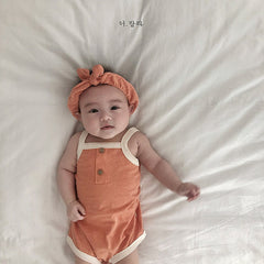 3 Colors New Fashion Summer Cotton Newborn Girls Babysuits Kids One-Pieces Clothes Infant Baby Romper Clothes with Hair Band