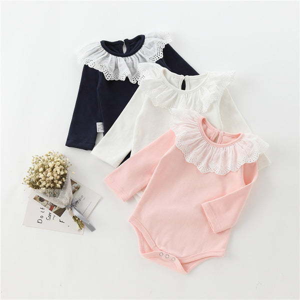 Newborn Girls White Lace Ruffles Babysuits Solid Colors Kids One-Pieces Autumn Clothes Infant Long Sleeve Baby Girls Clothing