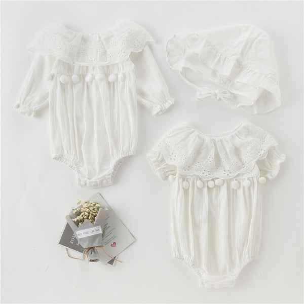 New Arrived Newborn Girls One-Pieces Clothes Short&long Sleeve White Hollow Out Flower Kids Cotton Babysuits Clothes with Cap