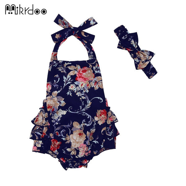 HOT SALE Baby Bodysuits Children's Girls One-pieces Flower Print ruffle Sleeveless Babysuits With Bow Headband