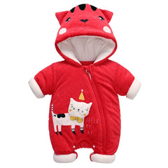 Kids Climbing Clothes of Cartoon Crown Cat Warm Thick External Clothes Climbing Clothes hooded zip-up babysuit one-piece romper