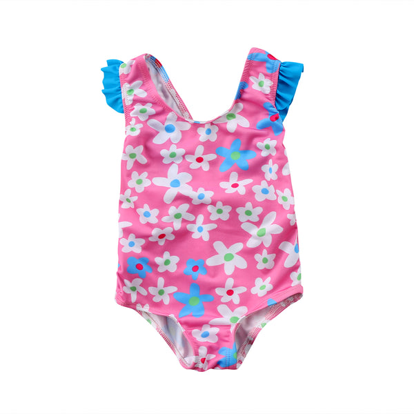 2018New  arrival  Floral BABY Flower Girls Babysuit Swimsuit Sun Suit Swimming Costume Bathers One pieces
